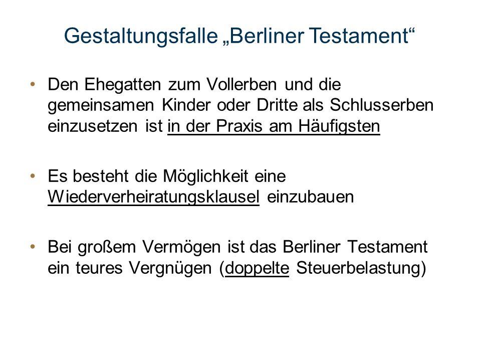 """Gestaltungsfalle """"Berliner Testament"""