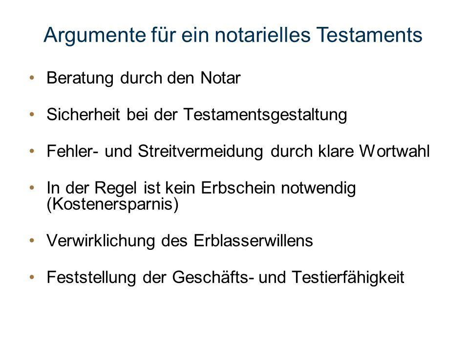 Argumente für ein notarielles Testaments