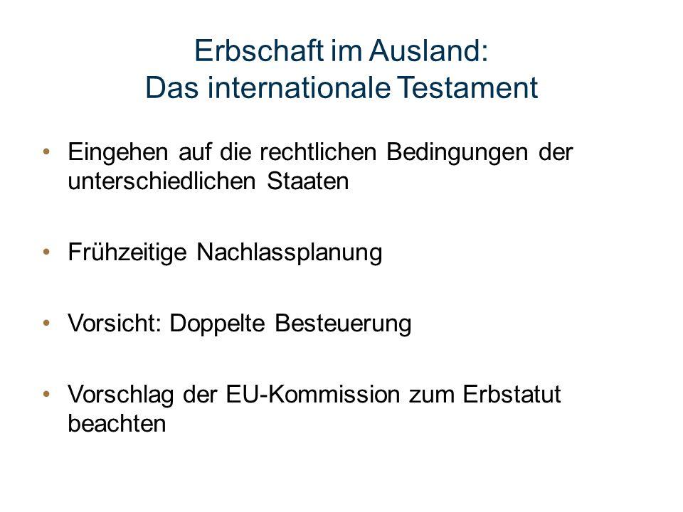 Das internationale Testament