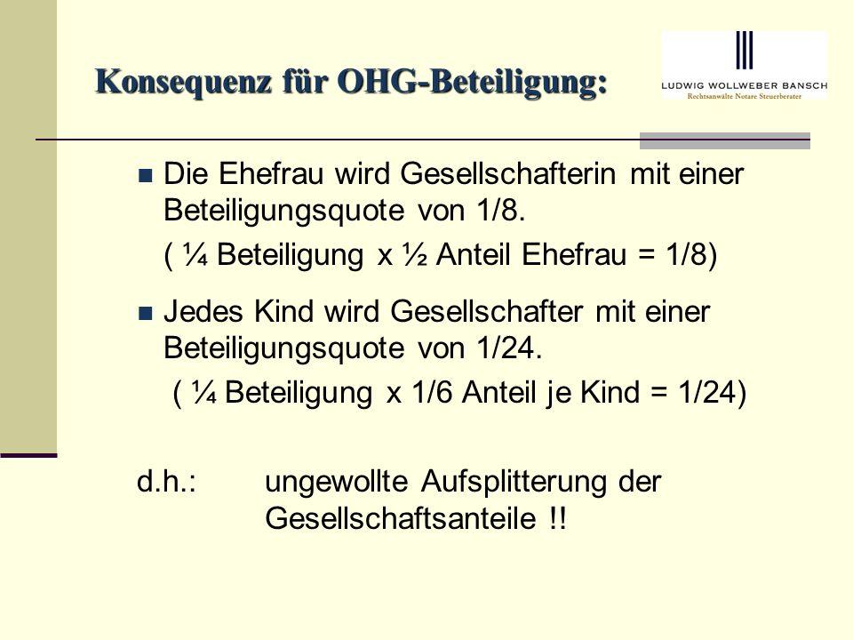 Konsequenz für OHG-Beteiligung: