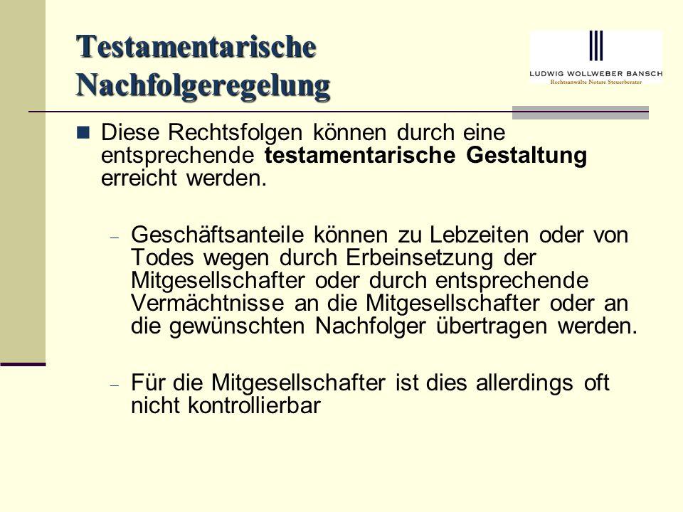 Testamentarische Nachfolgeregelung
