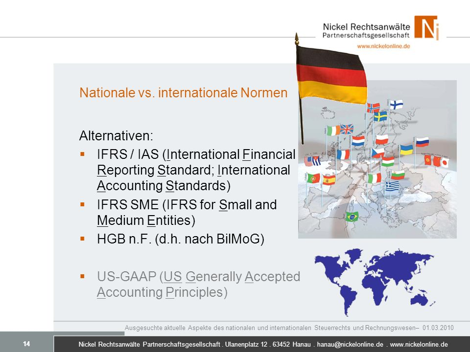 Nationale vs. internationale Normen
