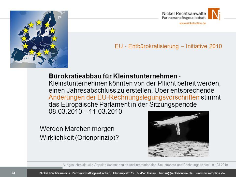 EU - Entbürokratisierung – Initiative 2010