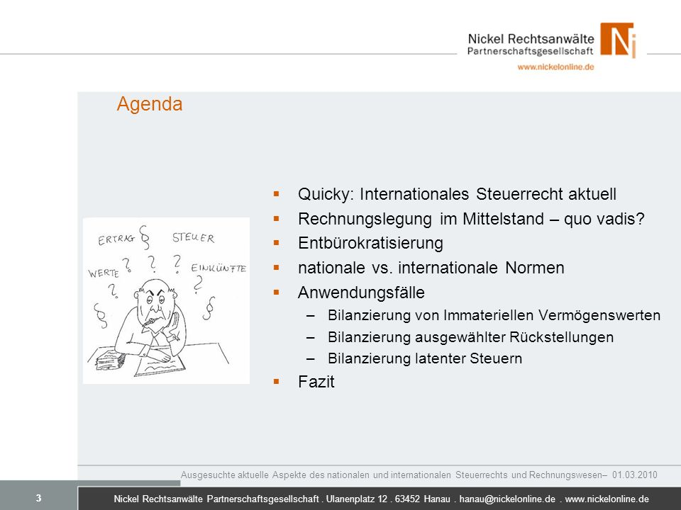 Agenda Quicky: Internationales Steuerrecht aktuell