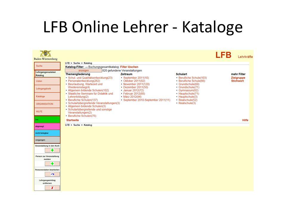 LFB Online Lehrer - Kataloge