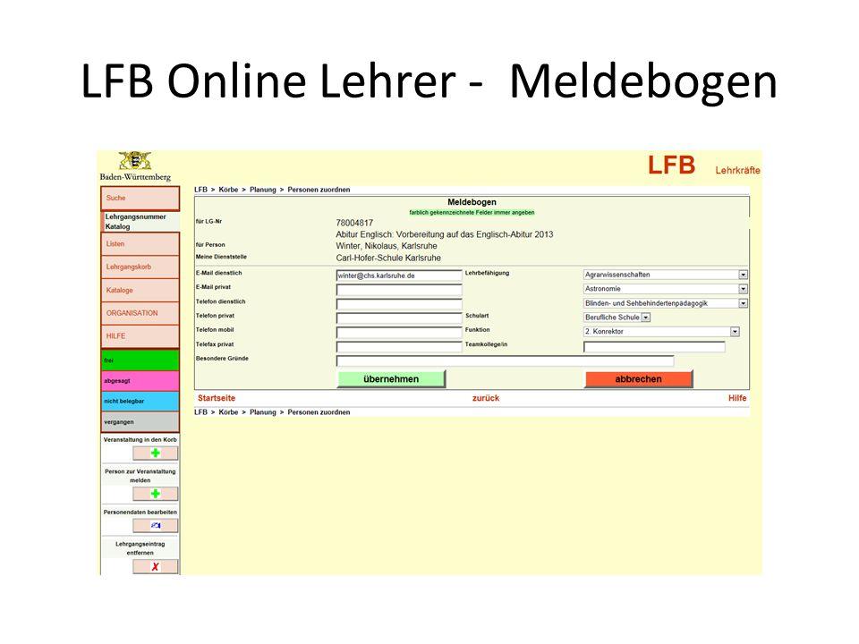 LFB Online Lehrer - Meldebogen