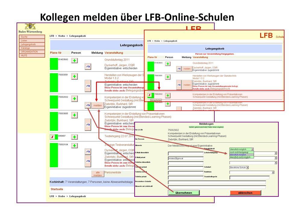 Kollegen melden über LFB-Online-Schulen