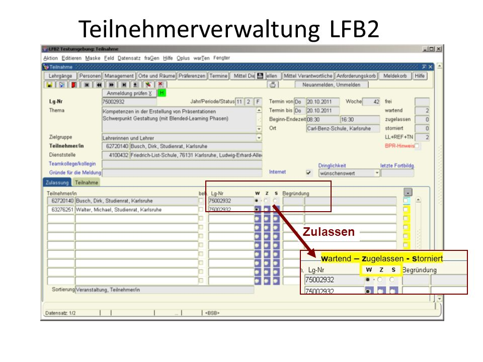 Teilnehmerverwaltung LFB2