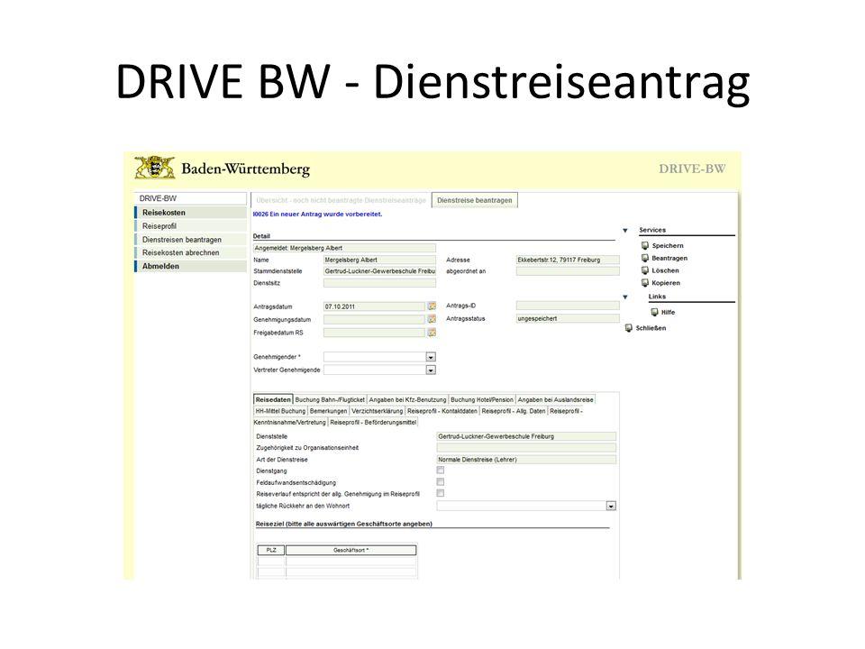 DRIVE BW - Dienstreiseantrag