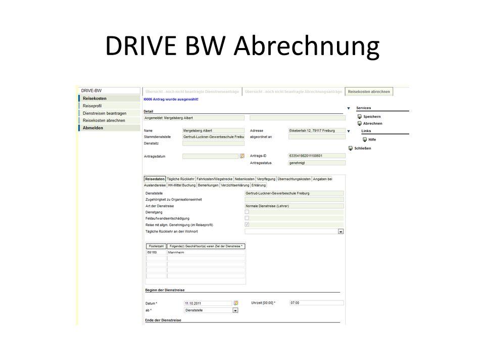 DRIVE BW Abrechnung