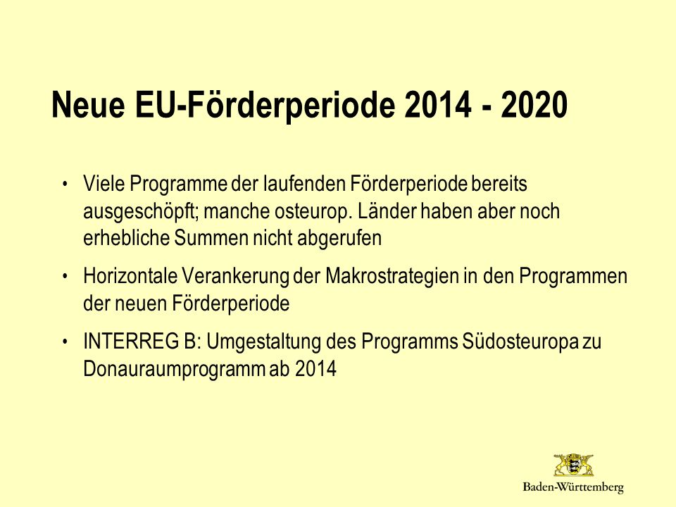 Neue EU-Förderperiode 2014 - 2020
