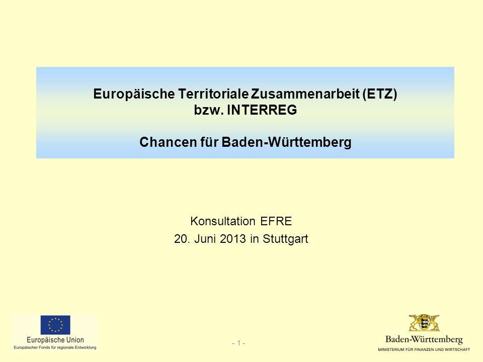 Konsultation EFRE 20. Juni 2013 in Stuttgart