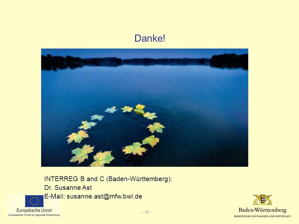 Danke! INTERREG B and C (Baden-Württemberg): Dr. Susanne Ast