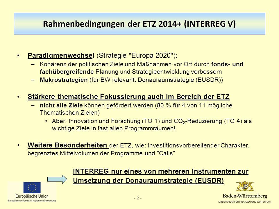 Rahmenbedingungen der ETZ 2014+ (INTERREG V)