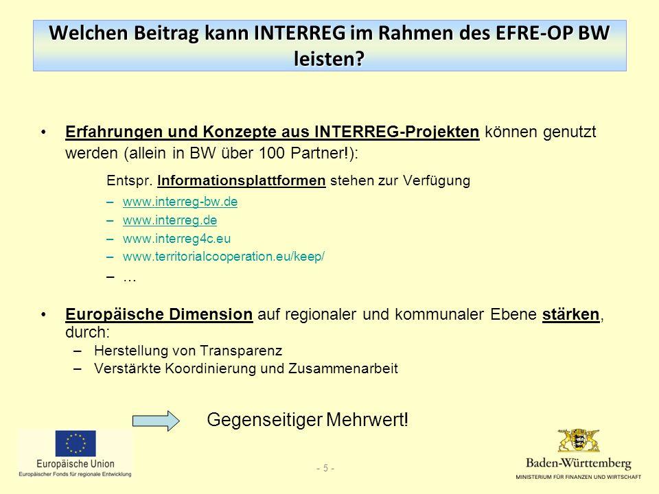 Welchen Beitrag kann INTERREG im Rahmen des EFRE-OP BW leisten