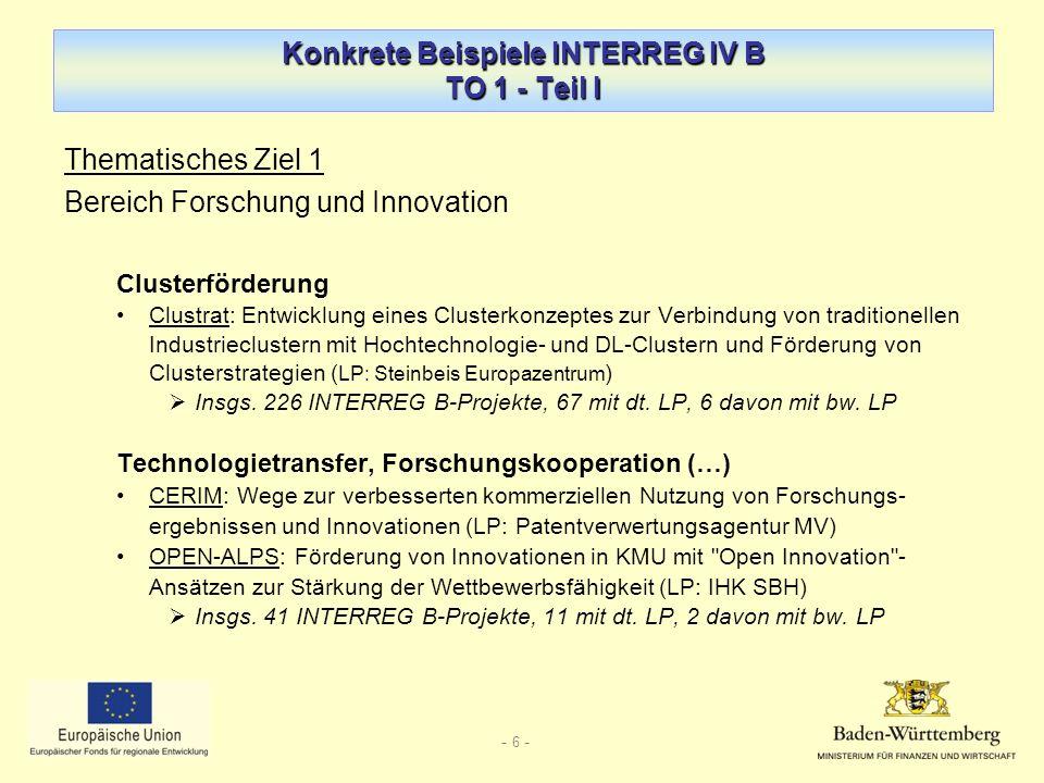 Konkrete Beispiele INTERREG IV B TO 1 - Teil I