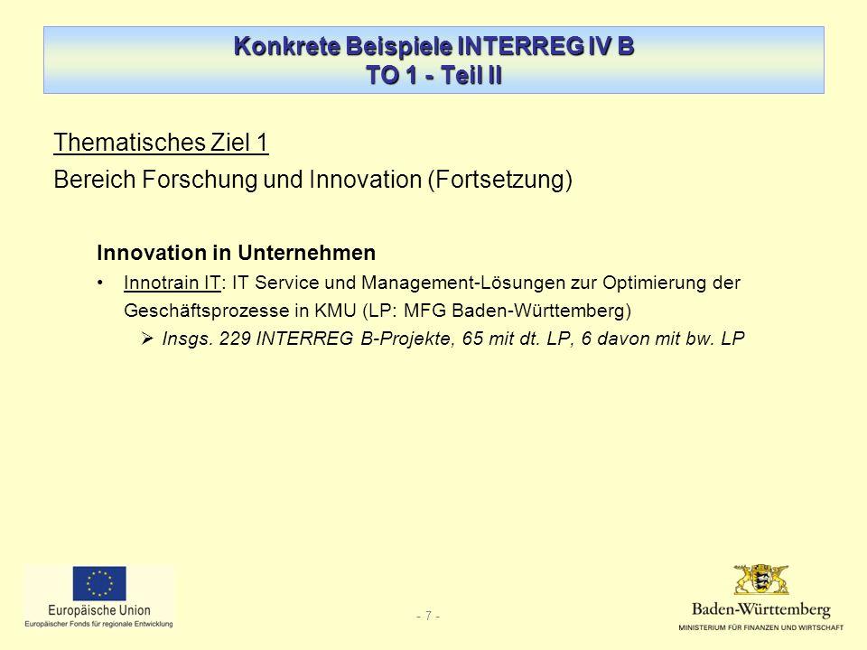 Konkrete Beispiele INTERREG IV B TO 1 - Teil II