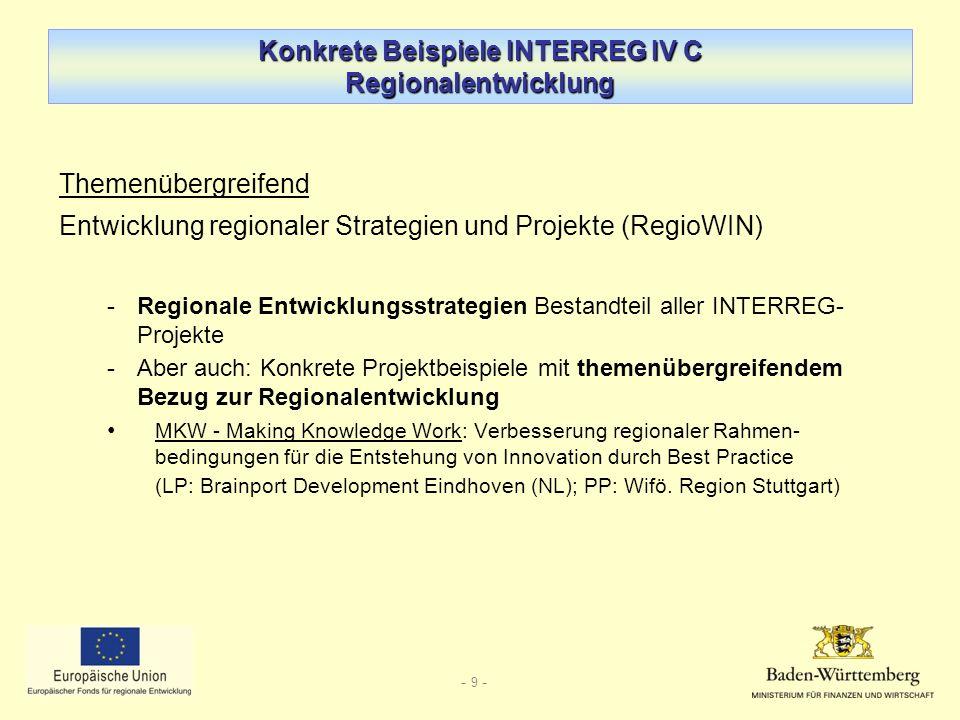 Konkrete Beispiele INTERREG IV C Regionalentwicklung