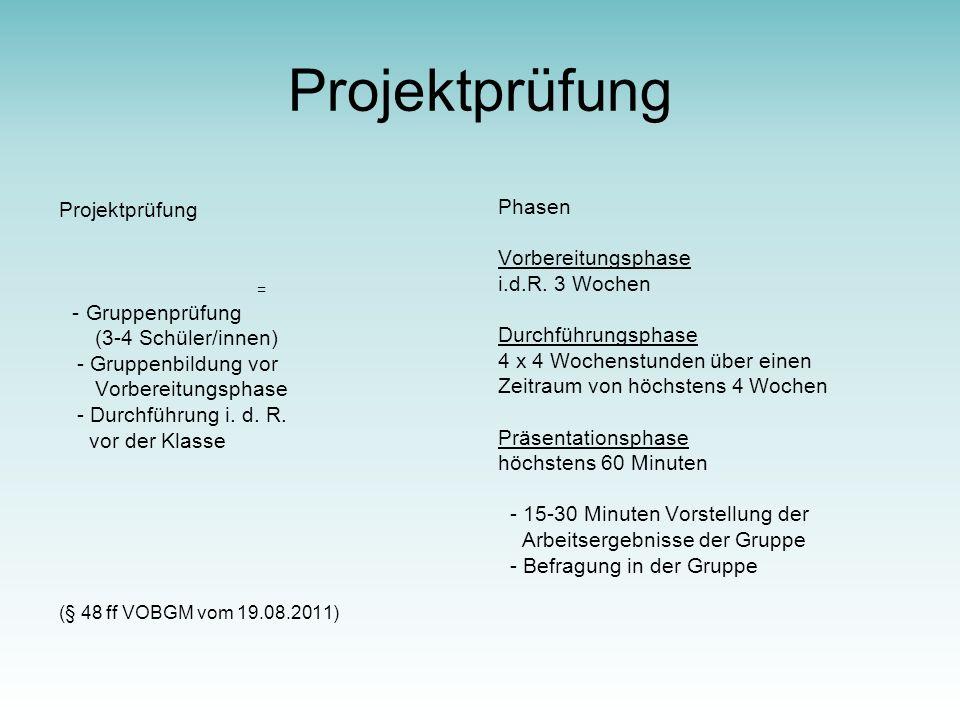 Projektprüfung Projektprüfung Phasen Vorbereitungsphase
