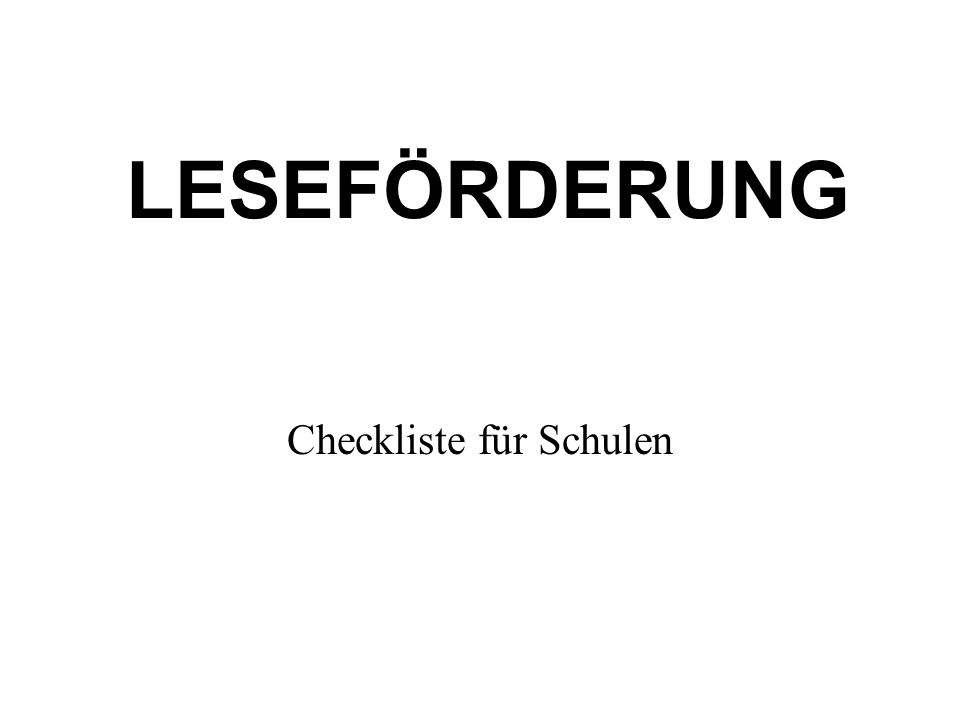 Checkliste für Schulen