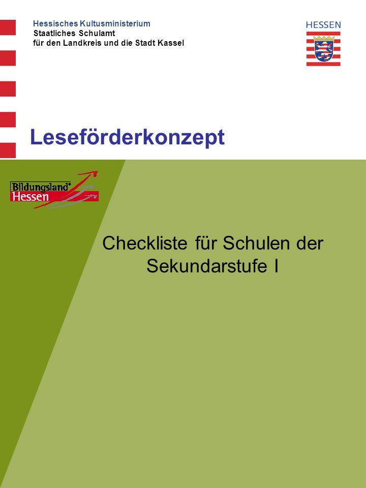 Checkliste für Schulen der Sekundarstufe I