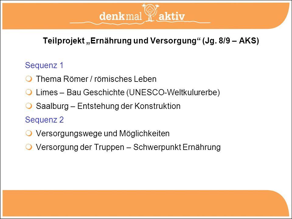 """Teilprojekt """"Ernährung und Versorgung (Jg. 8/9 – AKS)"""