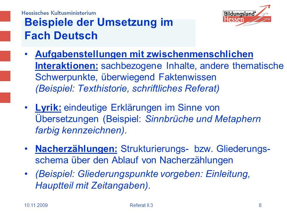 Beispiele der Umsetzung im Fach Deutsch