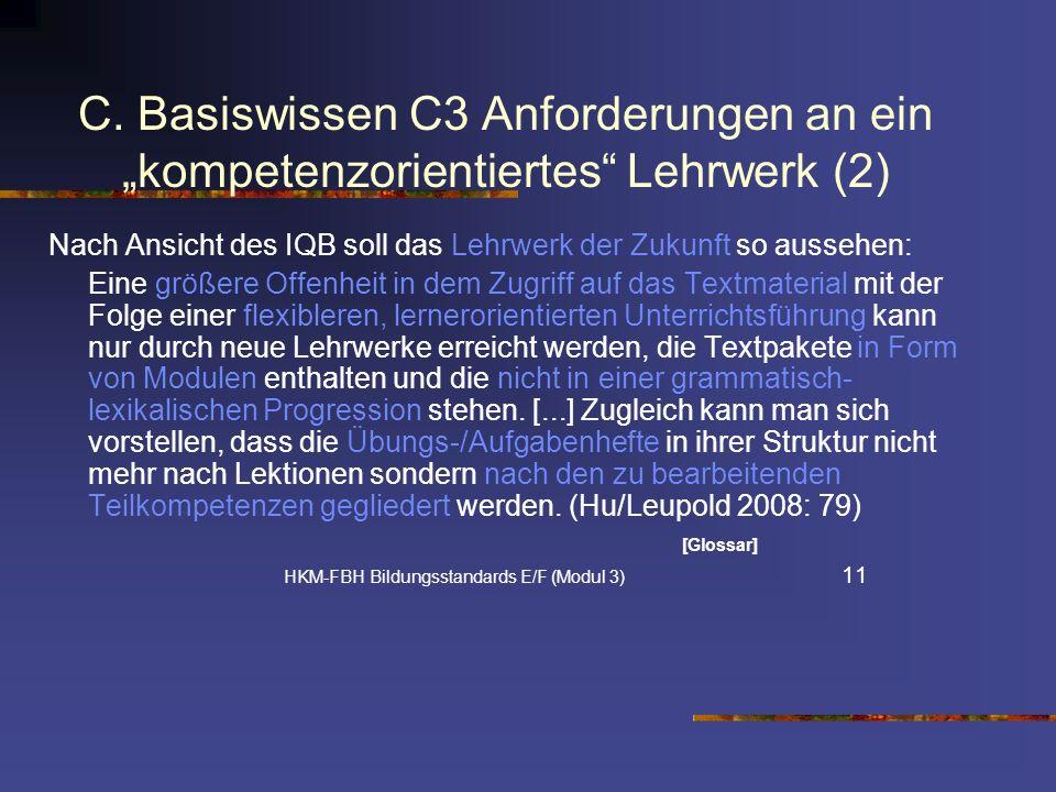 """C. Basiswissen C3 Anforderungen an ein """"kompetenzorientiertes Lehrwerk (2)"""