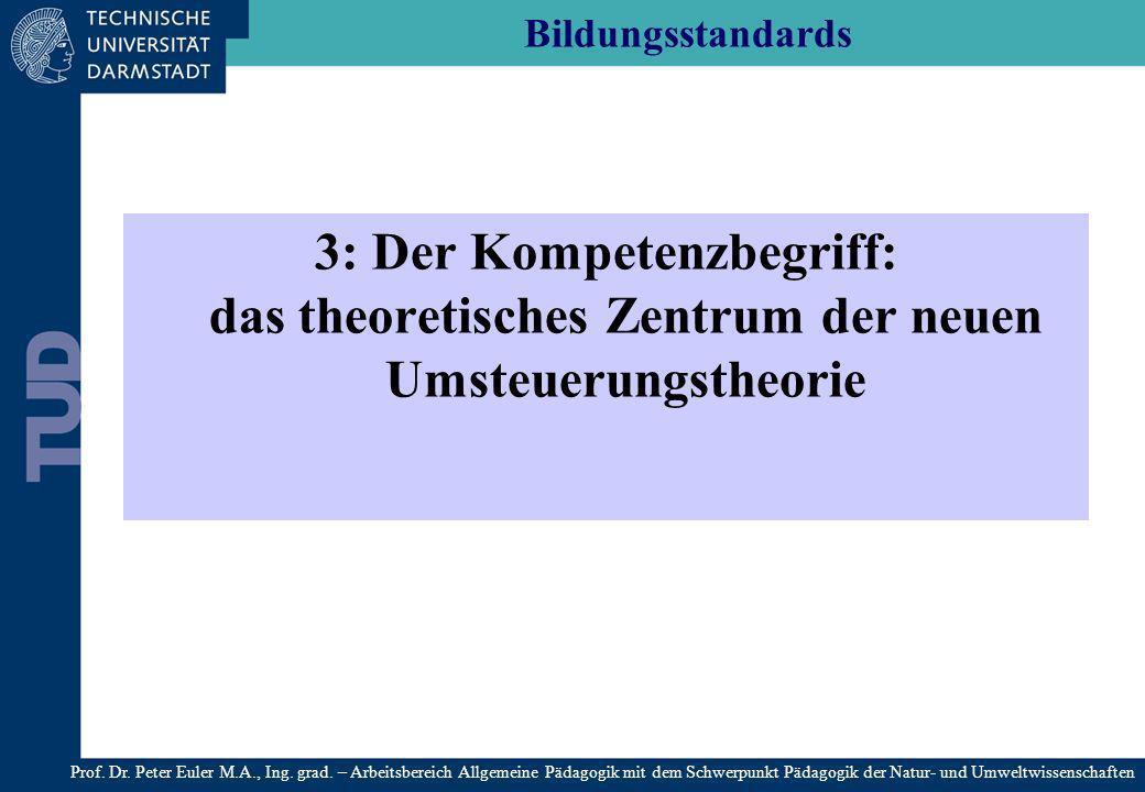 Bildungsstandards 3: Der Kompetenzbegriff: das theoretisches Zentrum der neuen Umsteuerungstheorie.