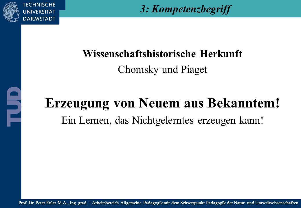 Wissenschaftshistorische Herkunft Erzeugung von Neuem aus Bekanntem!