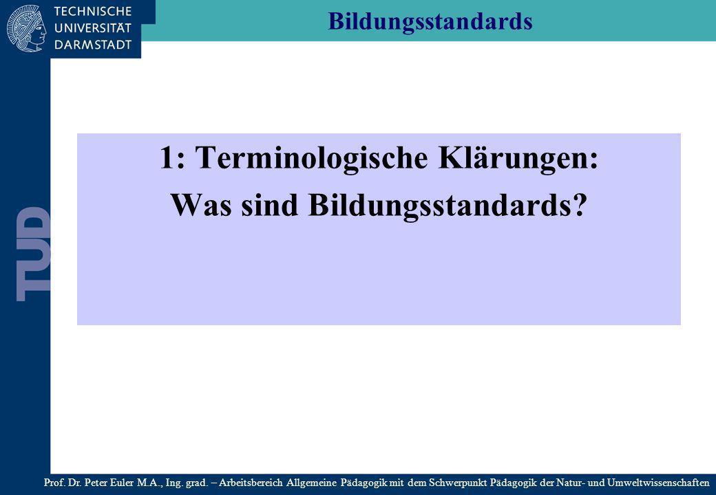 1: Terminologische Klärungen: Was sind Bildungsstandards