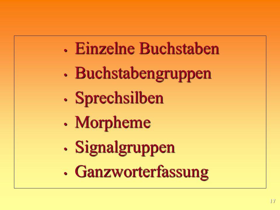 Einzelne Buchstaben Buchstabengruppen Sprechsilben Morpheme