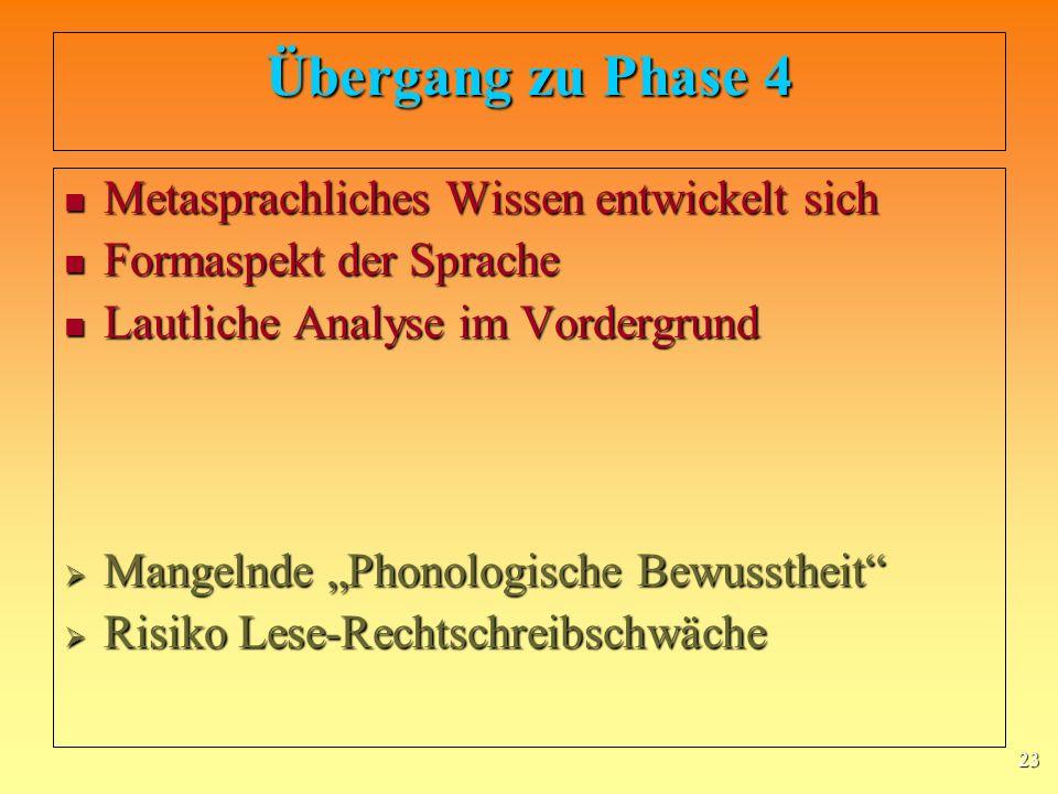 Übergang zu Phase 4 Metasprachliches Wissen entwickelt sich