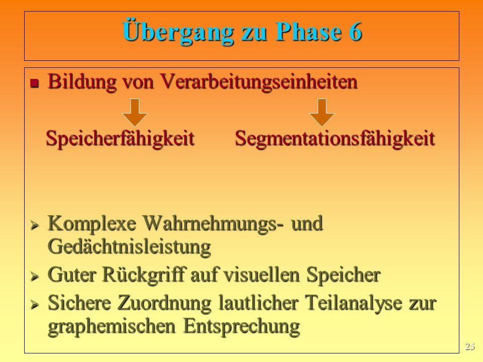 Übergang zu Phase 6 Bildung von Verarbeitungseinheiten