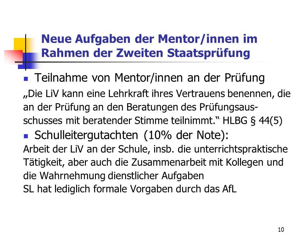 Neue Aufgaben der Mentor/innen im Rahmen der Zweiten Staatsprüfung