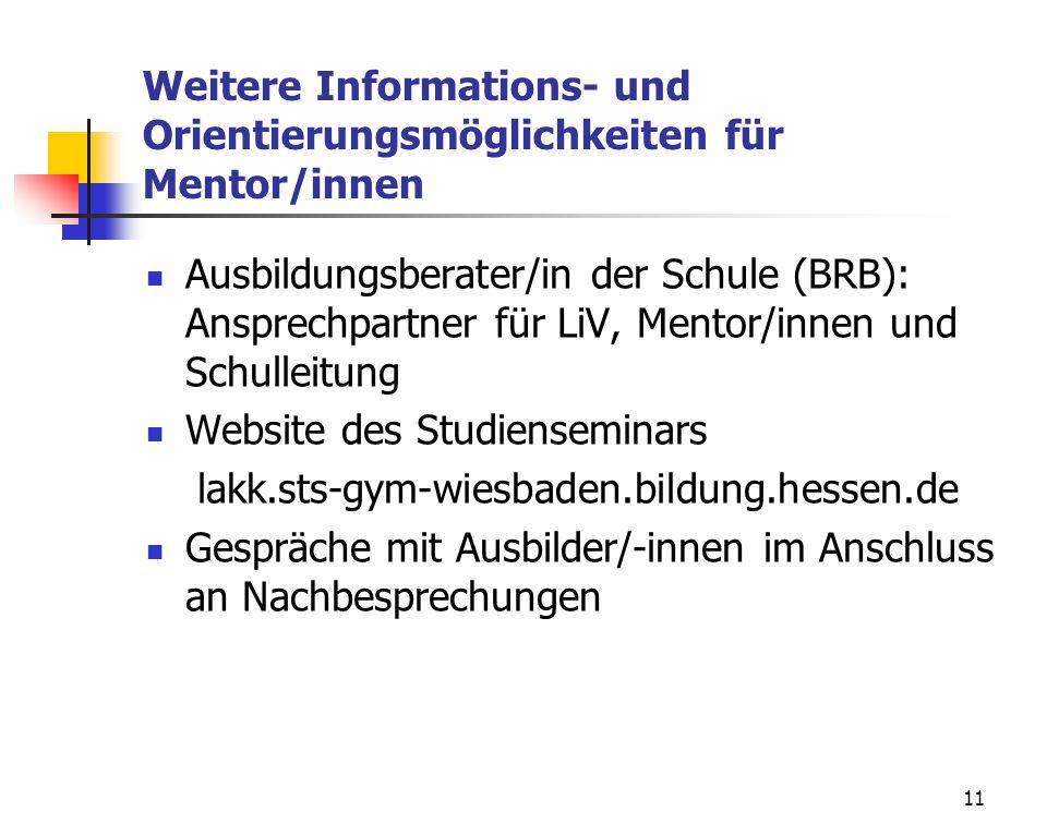 Weitere Informations- und Orientierungsmöglichkeiten für Mentor/innen