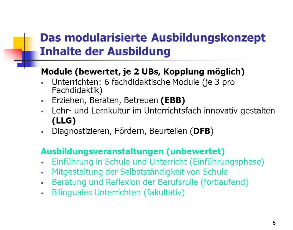 Das modularisierte Ausbildungskonzept Inhalte der Ausbildung
