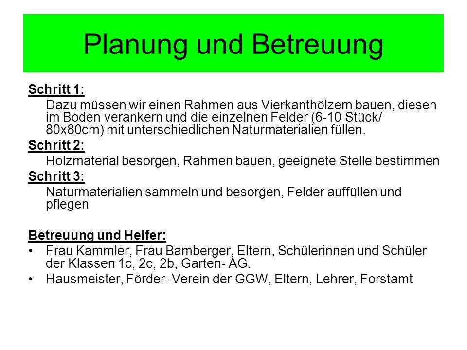 Planung und Betreuung Schritt 1: