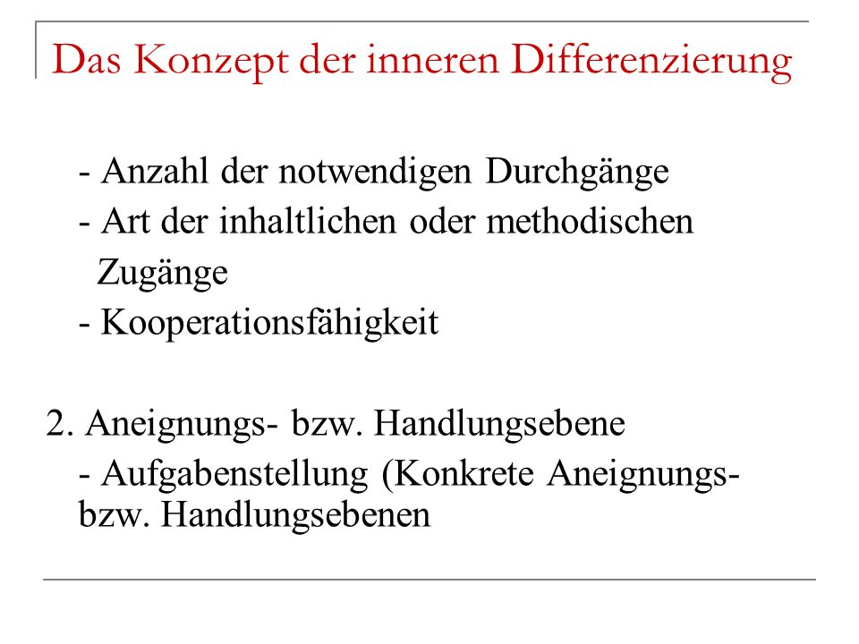 Das Konzept der inneren Differenzierung