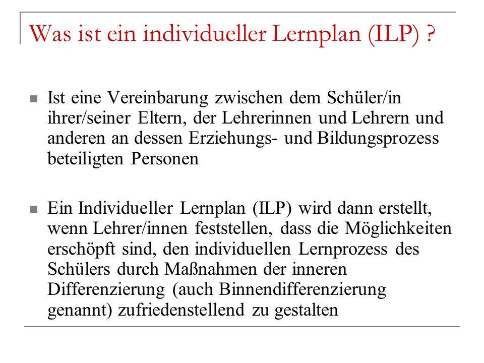 Was ist ein individueller Lernplan (ILP)