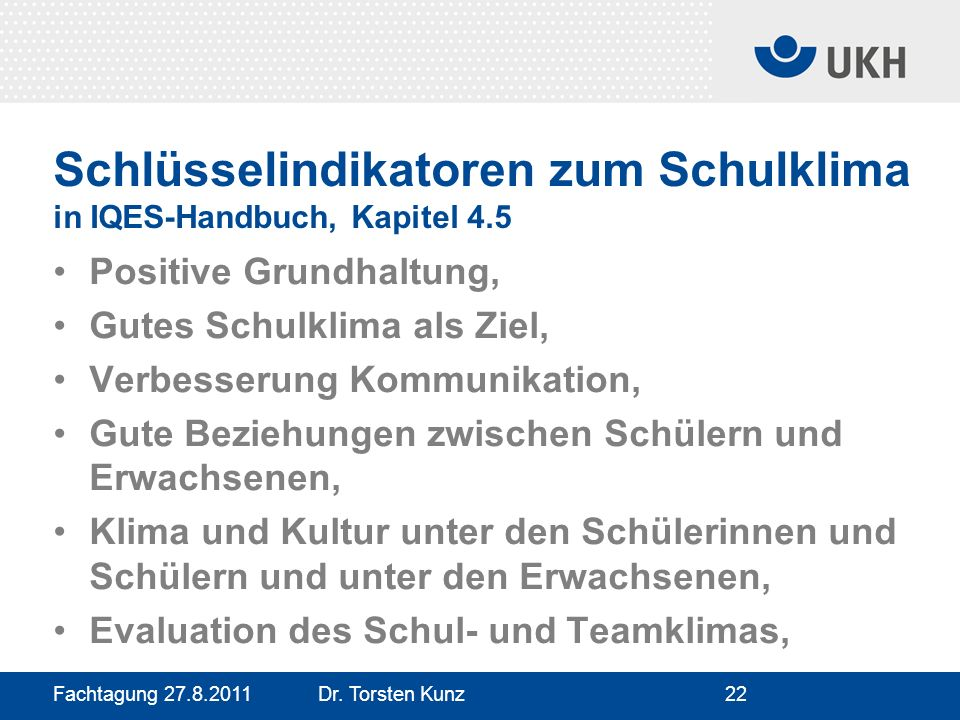 Schlüsselindikatoren zum Schulklima in IQES-Handbuch, Kapitel 4.5