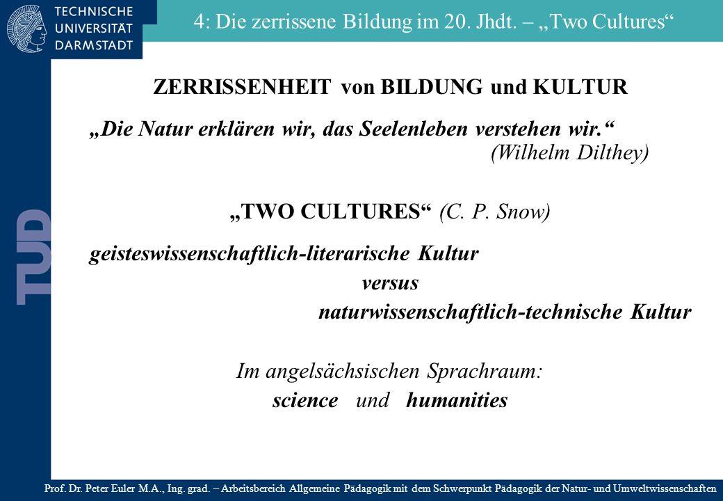 """4: Die zerrissene Bildung im 20. Jhdt. – """"Two Cultures"""