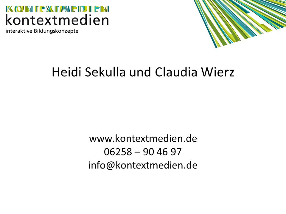 Heidi Sekulla und Claudia Wierz www. kontextmedien