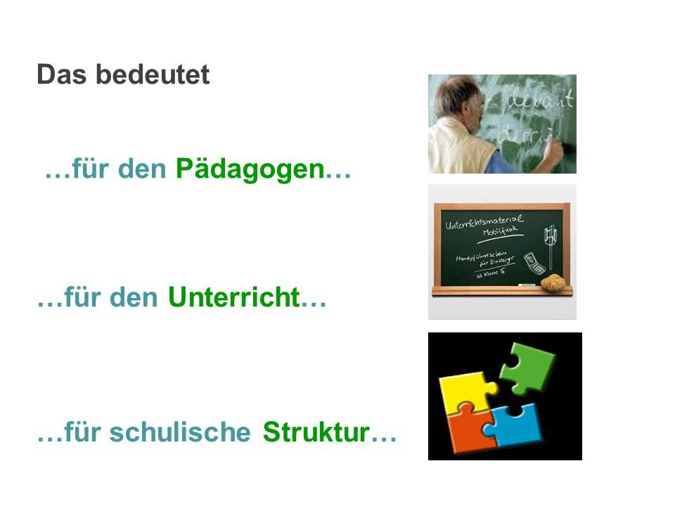 Das bedeutet …für den Pädagogen… …für den Unterricht… …für schulische Struktur…
