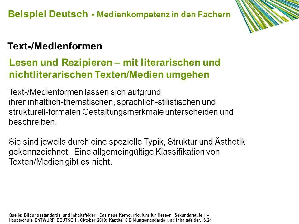 Beispiel Deutsch - Medienkompetenz in den Fächern