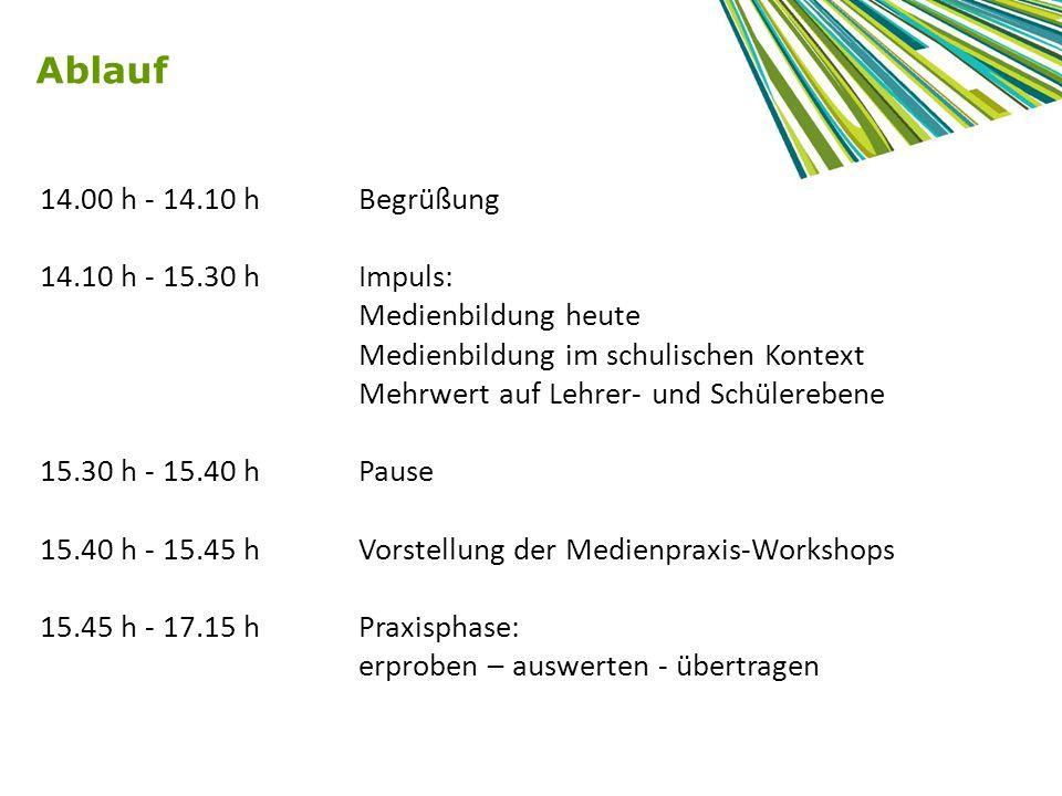 Ablauf 14.00 h - 14.10 h Begrüßung 14.10 h - 15.30 h Impuls: