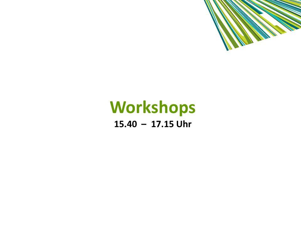 Workshops 15.40 – 17.15 Uhr