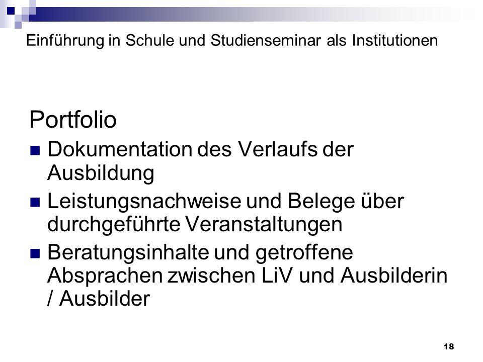 Einführung in Schule und Studienseminar als Institutionen