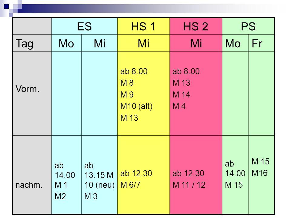 ES HS 1 HS 2 PS Tag Mo Mi Fr Vorm. ab 8.00 M 8 M 9 M10 (alt) M 13 M 14