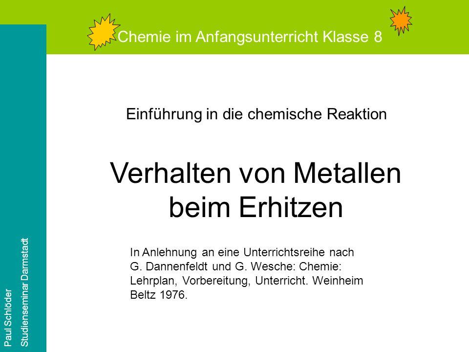 Verhalten von Metallen beim Erhitzen